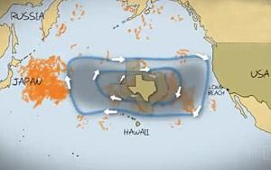 """En """"ö"""" av skräp, huvudsakligen bestående av plast som aldrig bryts ned, flyter omkring i Stilla havet. (Foto: VBS.tv)"""